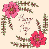 Happy day. Vintage colorful background with ancient flowers like portulaca