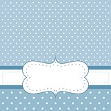 Sweet, blue dots card or invitation with white polka dots