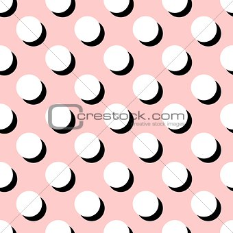 Tile vector pattern with big white polka dots on pink background