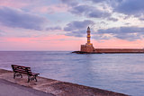 Lighthouse at sunrise, Chania, Crete, Greece