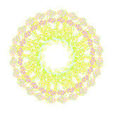 circular pattern yellow green pink purple on a white. vector ill