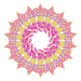 circular star pink yellow pattern on a white. vector illustrator