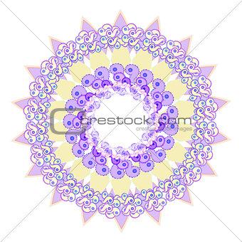 circular star purple pattern on a white. vector illustratoration