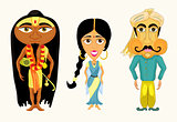 India set a girl, a man and a yogi vector illustration