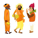 Indian set Yogi man in the orange garb vector illustration