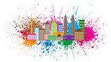 Kuala Lumpur City Skyline Paint Splatter Illustration