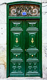 Wooden green door