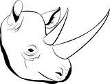cartoon simple sketch african rhino with big horns, vector