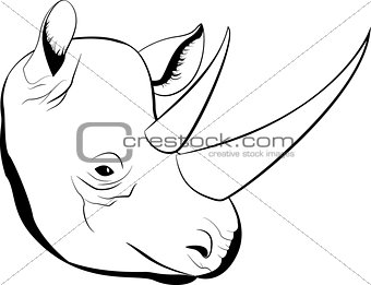 cartoon simple sketch african rhino with big horns, vector