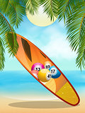 Tropica beach with bingo surfboard