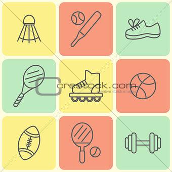 Flat Line Sport Icons