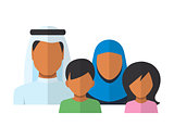 Arab Family members avatars in flat style