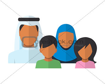 Arab Family members avatars in flat style