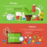Biology and Physics Science Flat Website Banners Set