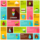 Flat Design Vector Icons Infographic Garden Nature Concept
