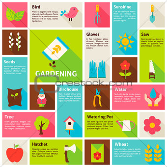 Flat Design Vector Icons Infographic Spring Gardening Concept