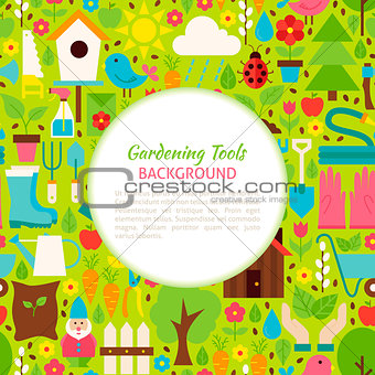 Flat Gardening Tools Vector Pattern Background