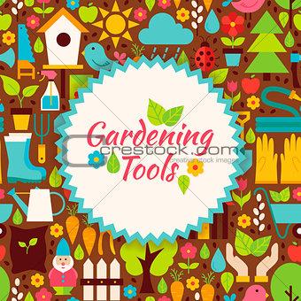 Flat Vector Gardening Tools Brown Poster Postcard