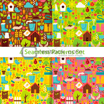 Four Flat Spring Garden Seamless Patterns Set