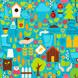 Spring Garden Vector Flat Design Blue Seamless Pattern