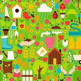 Spring Garden Vector Flat Design Green Seamless Pattern