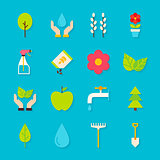 Spring Gardening Flat Objects Set with Shadow