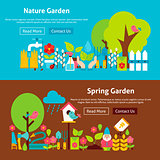 Spring Nature Garden Flat Website Banners Set