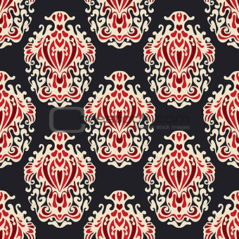 Abstract seamless damask floral vector  esign