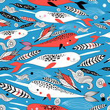 Marine seamless graphic pattern with different white whale