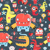 Seamless graphic pattern of amusing monsters