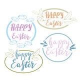 Hand written Happy Easter phrases .Greeting card text templates with design elements
