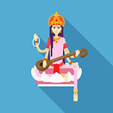 Hindu Goddess Saraswati flat