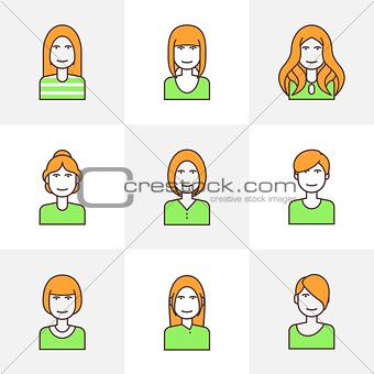 Flat line icons woman avatar