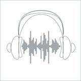Vector sound wave with headphones.