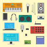 Set of musician digital equipment.