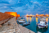 Night old harbour of Heraklion, Crete, Greece
