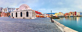 Panorama morning Venetian quay, Chania, Crete