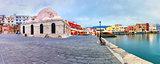Panorama morning Venetian quay, Chania, Crete