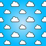 Clouds in blue sky. Nature seamless summer background