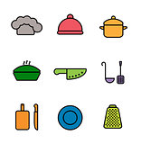 Vector kitchen, restaurant and culinary icons. Chef cap, cloche, pan, knife, laddle, grating board, saucepan, plate