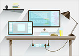 Creative office desktop workspace. Mock up.
