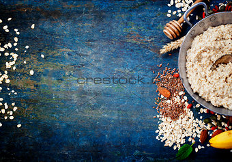 Bowl of oatmeal porridge with healthy ingredients