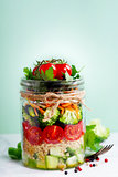 Healthy Homemade Mason Jar Salad with Quinoa and Veggies