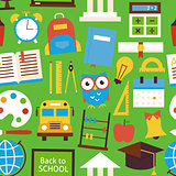 Flat Seamless Pattern Back to School Objects over Green