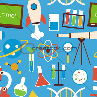 Flat Seamless Pattern Science and Education Objects over Blue