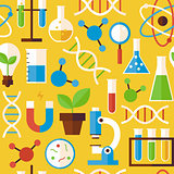 Flat Seamless Pattern Science and Research Objects over Yellow