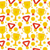 Flat Seamless Pattern Sport Competition Trophy Winning