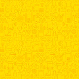 Line Healthy Lifestyle Fitness Dieting Yellow Seamless Pattern