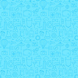 Line Summer Travel and Resort Blue Seamless Pattern