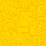 Thin Line Internet of Things Seamless Yellow Pattern
